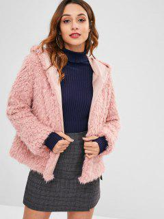 Manteau à Capuche Ouvert En Avant En Fausse Laine - Rose Léger  M