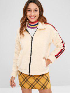 Zip Up Stripes Faux Shearling Coat - Cornsilk L