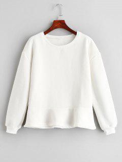 Solid Color Loose Sweatshirt - White M