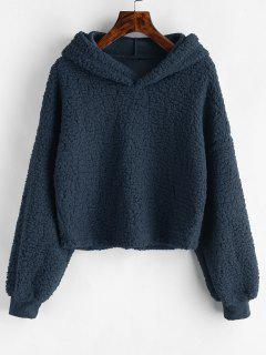 Loose Fit Faux Fur Hoodie - Cadetblue Xl