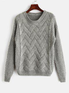 Long Sleeves Cable Knit Sweater - Gray