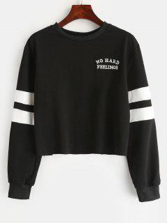Letter Embroidered Striped Sweatshirt - Black M