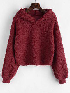 Loose Fit Faux Fur Hoodie - Red Wine Xl