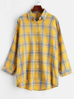Button Up Plaid High Low Shirt - Sun Yellow L