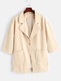 Drop Shoulder Pocket Trenchcoat - Beige L
