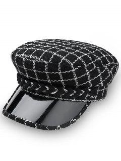 Stylish Plaid Flat Top Hat - Black