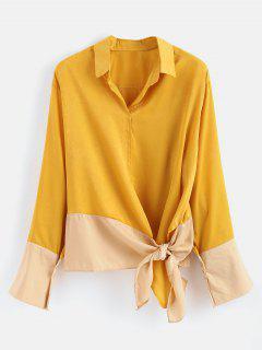 Oversized Asymmetric Tunic Blouse - Mustard M