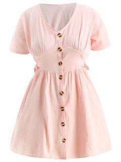 Plus Size Knotted Button Up Dress - Light Pink 1x