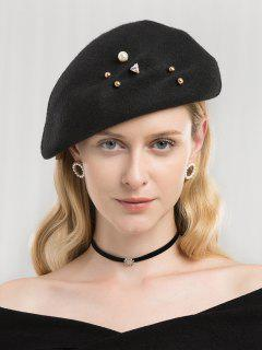 Boina De Imitación De Perlas De Imitación Vintage - Negro