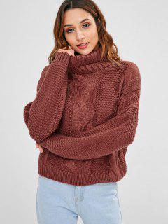 Cable Knit Turtleneck Chunky Sweater - Maroon