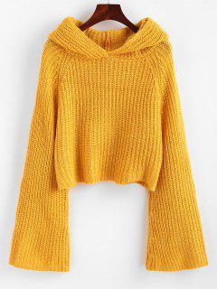 Flare Sleeve Hooded Crop Sweater - Orange Gold