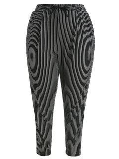 Pantalon Rayé Taille à Cordon De Grande Taille - Noir 1x