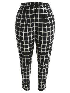 Plus Size Straight Plaid Pants - Black 2x