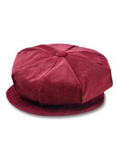 Solid Color Corduroy Octagonal Cap - Cherry Red
