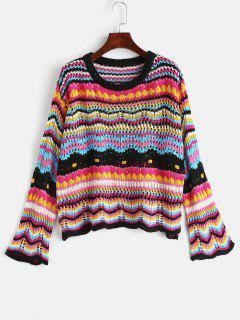 Suéter Flojo Con Ahueca Hacia Fuera - Multicolor