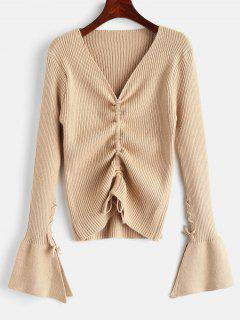 Chinched Ribbed Sweater With Lace Up - Khaki