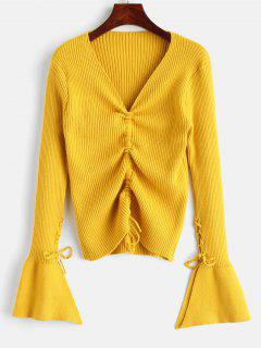 Chinched Ribbed Sweater With Lace Up - Yellow