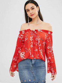 Blume Aus Schulter Flare Sleeve Bluse - Rot L