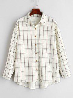 Button Front Plaid Longline Shirt - Beige L