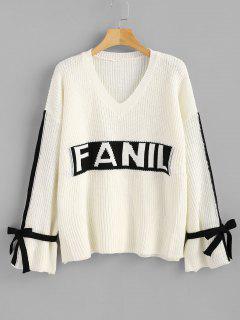 Oversized Tunic Tied Sleeve Sweater - Warm White