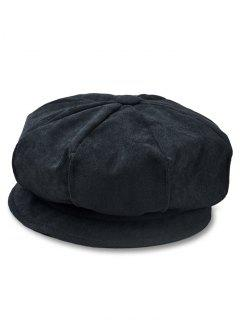 Solid Color Corduroy Octagonal Cap - Black