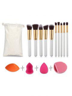 10Pcs Makeup Brush 3Pcs Makeup Sponge Puff And Cosmetic Brush Cleansing Egg Set - Multi