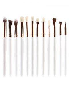 Professional 12Pcs Ultra Soft Cosmetic Eyeshadow Blending Eyebrow Brush Suit - Milk White