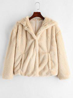 Hooded Fluffy Jacket With Drop Shoulder - Warm White L