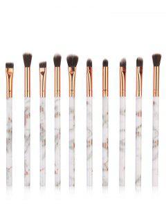10Pcs Soften Silky Fiber Hair Eye Makeup Brush Set - Platinum
