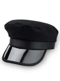 Unique Solid Color Military Hat - Black