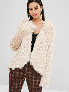 Hooded Fluffy Jacket With Open Front - Beige M
