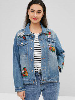 Floral Embroidered Denim Jacket - Blue S