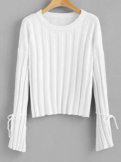 Tied Bell Sleeve Sweater - White