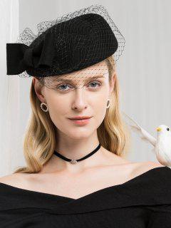 Elegant Bowknot Mesh Woolen Beret - Black