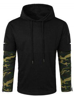 Lay Open Camo Sleeve Drawstring Hoodie - Black L