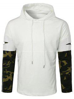 Lay Open Camo Sleeve Drawstring Hoodie - White L