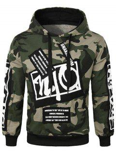 Casual Letter Applique Camo Hoodie - Army Green L