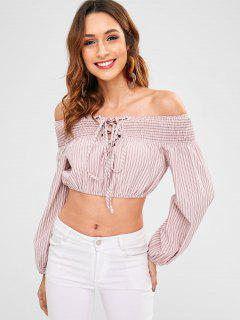 ZAFUL Stripe Lace-up Smocked Blusa - Rosa L