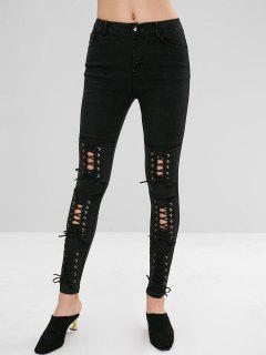 Lace-up Grommets Skinny Jeans - Black Xl