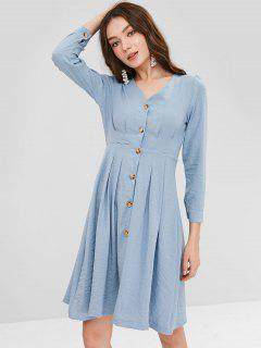 Pleated-detail Button Down Dress - Blue Gray L