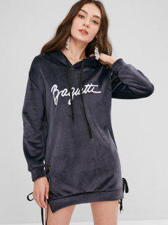 Grommet Lace Up Velvet Hoodie Dress - Dark Slate Blue M