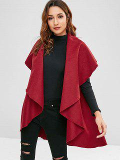 Open Front Draped Coat - Red Wine