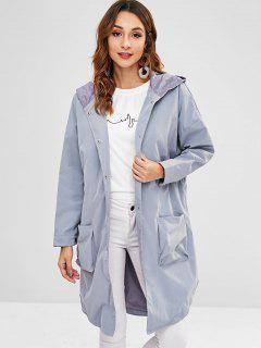Manteau à Capuche Longueur à Genou Surdimensionné Avec Poche - Bleu-gris