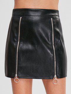 Ring Zipper Faux Leather Skirt - Black M