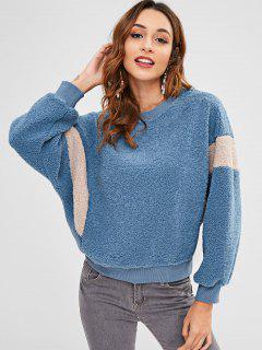 Two Tone Faux Fur Sweatshirt - Silk Blue S