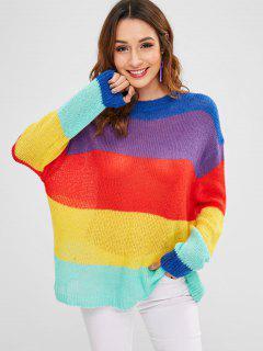 Túnica Color Block Suéter De Gran Tamaño - Multicolor