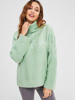 Cable Knit Turtleneck Boxy Sweater - Mint Green