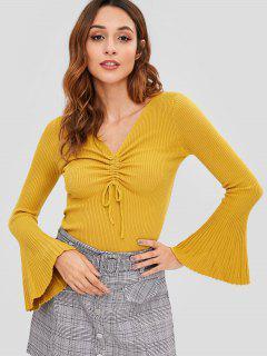 Flare Ärmel Slim Ribbed Sweater - Goldgelb