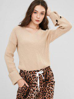 V Neck Cuffed Slit Sweater - Warm White