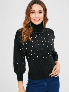 Faux Pearl Embellished High Neck Sweater - Black